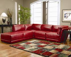 Red Living Room Furniture L Shaped Couches Living Room Filled Large Shag Rug And Arco Floor