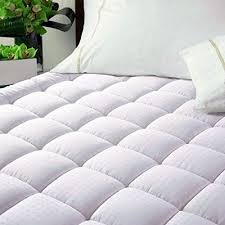 quilted mattress pad. Luxury Hotel Quilted Mattress Pad Cover 300tc 100 Cotton Top - Goose Down Up | EBay