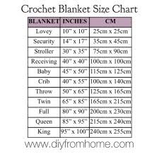 Crochet Size Chart Blanket Size Chart Diy From Home