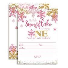 Snowflake Birthday Invitations Amazon Com Winter Snowflake First Birthday Party