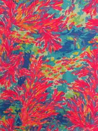 Lilly Pulitzer Fabric Palm Beach Coral Dobby Cotton Fabric Square 18x18 Lilly Resort