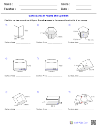 geometry worksheets surface area volume worksheets prisms and cylinders surface area worksheets