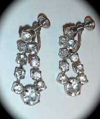 vintage 1 1 4 clear rhinestone chandelier earrings back