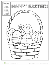 Easter Egg Basket Color by Number free printable easter worksheet for kids crafts and worksheets on key log printable