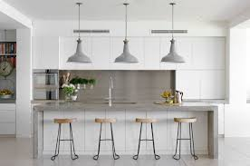 industrial kitchen lighting. Elegant White Kitchen Lighting 19 Cabinets Grey Marble Island Tile Floors Industrial C