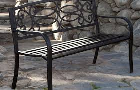 Modern Patio And Furniture Medium Size Iron Garden Chair Ft Metal Bench In Antique Black Finish