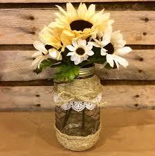 Mason Jars Decorated With Twine Mason Jar Floral Arrangement Twine Wrapped by AmericanaGloriana 54