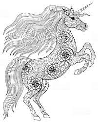 Disegno A Mano Magia Per Adulto Unicorno Da Colorare Pagina Anti