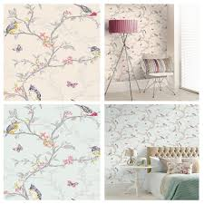 BEAUTIFUL ROOM DECOR HOLDEN PHOEBE BIRDS WALLPAPER   CREAM, GREY, WHITE OR  TEAL