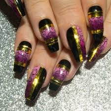 Purple And Black Design Ombre False Nails With Design Purple Black Gold All Nail