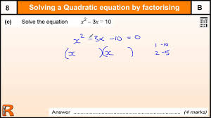solving quadratic equation by factorising gcse maths revision exam paper practice help