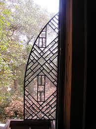 abstract leaded beveled glass interior door set