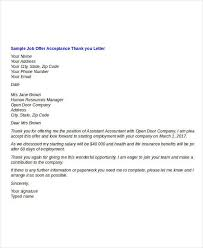 Thank You Letter For Job Opportunity Examples Job Offer Thank You Letter Thank You Letter Template