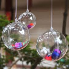 Clear Plastic Fillable Ball Ornaments Christmas Favor Candy Crafts  pertaining to