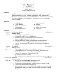 Resume Samples For Experienced Testing Professionals Free Resume