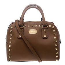 michael michael kors brown leather small studded sandrine top handle bag nextprev prevnext
