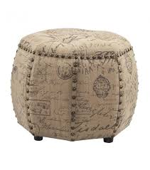 Burlap French Script Ottoman Footstool Table