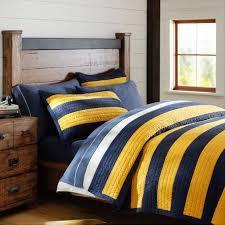 rugby stripe quilt sham navy yellow pbteen