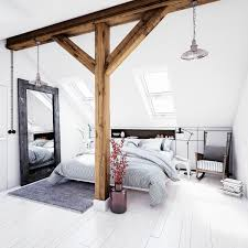 Slanted Ceiling Bedroom Bedroom Attic Master Bedroom Features Exposed Wood Beam With
