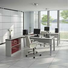 white corner office desk. Modern Home Office Interior Design With Cute White Corner Desk And Large Glass Windows
