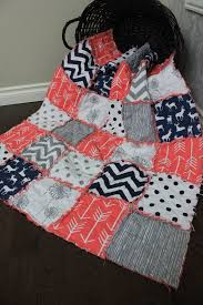 246 best bebe quilts images on Pinterest | Baby rag quilts, DIY ... & Navy, Coral, Grey Baby Rag Quilt, Deer Quilt, Arrow, Crib Size Rag Quilt,  Ready To Ship Adamdwight.com