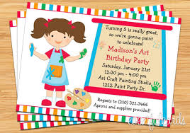 kids birthday party invitations art painting birthday party invitation for kids printable