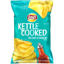salt and vinegar kettle chips lays kettle cooked sea salt and vinegar potato chips salt and