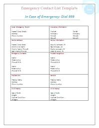 Family Contact List Template Emergency Contact List Template Word Family Luftmensch Co
