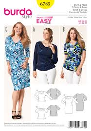 Burda Patterns Gorgeous 48 Burda Pattern Misses And Plus Size Knit Dress And Top With
