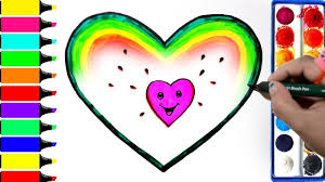 rainbow watermelon heart coloring pages how to draw pink heart learn colors for baby