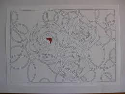 切り絵塗り絵 薔薇バラ ステンドガラス調