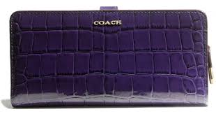 Lyst - Coach Madison Skinny Wallet in Croc Embossed Leather in Metallic