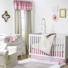 gold and pink chevron and dots 4 piece baby crib bedding set by the peanut shell