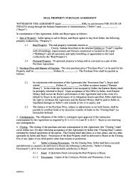 Real Estate Purchase Agreement Indiana - Fill Online, Printable ...