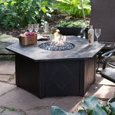 outdoor fire table. Decorative Slate Tile LP Gas Outdoor Fire Pit With FREE Table