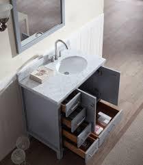 ariel cambridge 37 single sink vanity set w right offset sink in grey