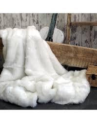white faux fur throw polar bear large