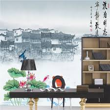 chinese ancien building landscape painting wall murals for chinese restaurant decor