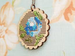 wooden cross stitch necklace