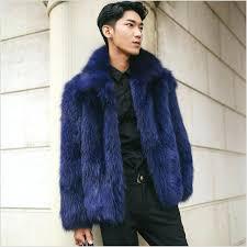 mens faux fur coats blue faux fur coat thick warm overcoat winter outwear lapel jacket parka mens faux fur coats