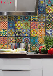 Kitchen Tile Decals Stickers Bleucoin No 21 Mexican Talavera Tile Wall Stair Stickers