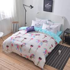 100 cotton unicorn bedding set queen twin double size duvet cover light blue bed