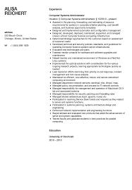 Computer Systems Administrator Resume Sample Velvet Jobs