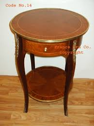 french louis xv end round table in rosewood lower shelf with one drawer and ormolu mounted