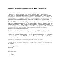 Letter Of Recommendation Samples For Students Recommendation Letter Phd Program Sample
