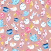 alice in wonderland alice in wonderland fabric bunny romantic fabric