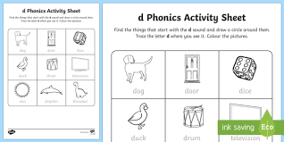 These worksheets aim to build a child's knowledge of consonants, vowels and their corresponding sounds. D Phonics Worksheet Teacher Made