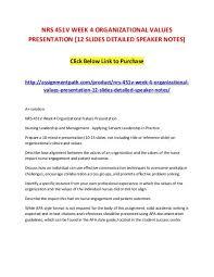Nrs 451v Week 4 Organizational Values Presentation 12 Slides