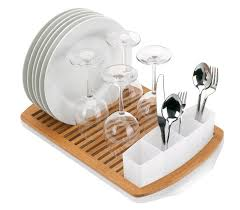 wooden dish rack designs with wine glass and white plate also cutlery storage for modern kitchen accessories