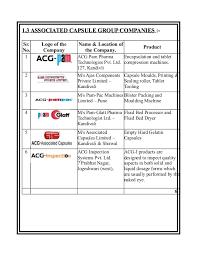 Acg Capsule Size Chart Mehul H Vora Project Final